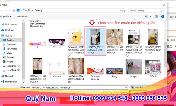 Click chọn máy ảnh và tải ảnh lên Taobao để tìm kiếm